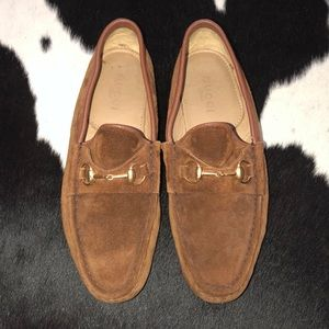 Gucci tan suede moccasin horsebit loafer, size 7.5